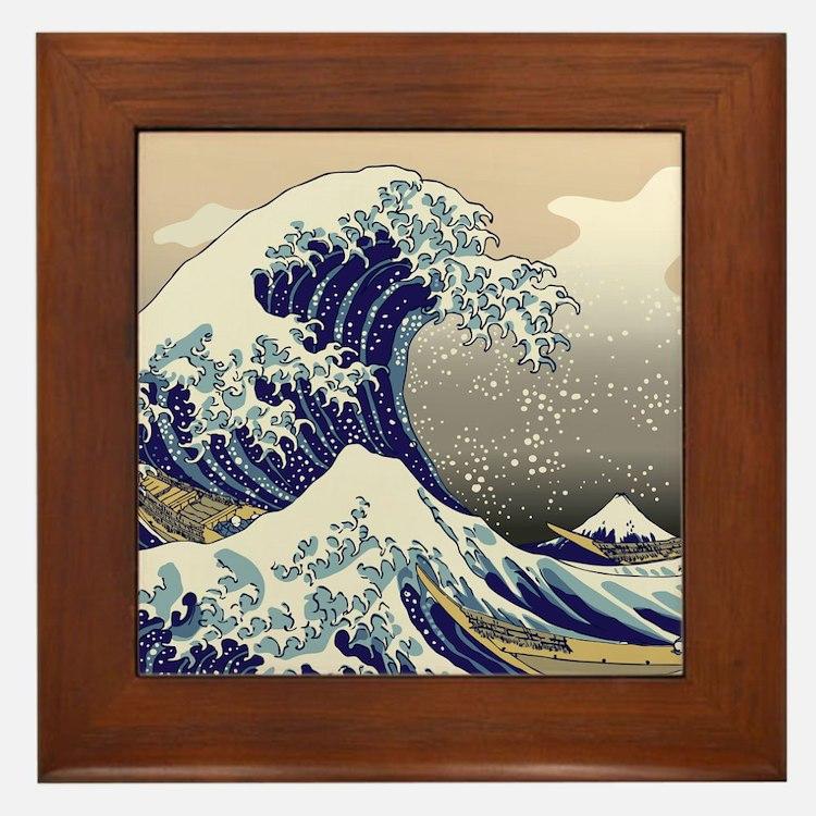 Hokusai_Great_WaveKing1 Framed Tile