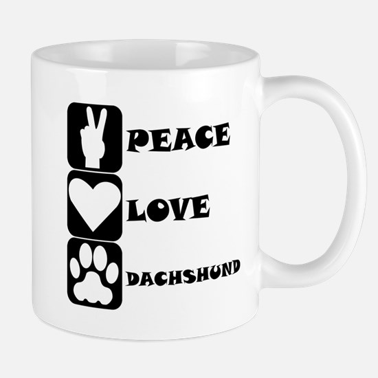 Peace Love Dachshund Mugs