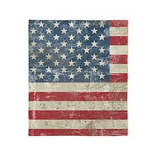 vintageAmerica4Shower1 Throw Blanket