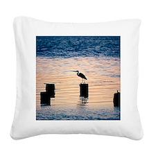 Silhouette of an egret perchi Square Canvas Pillow