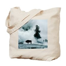 Silhouette of buffalo in winter in Yellow Tote Bag