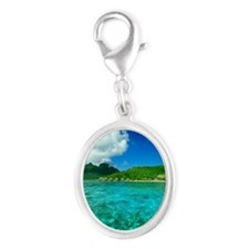 The clear South Pacific Ocean w Silver Oval Charm