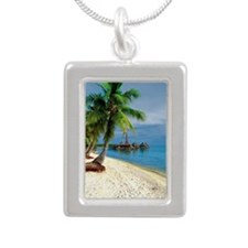 Palm tree on the beach,  Silver Portrait Necklace
