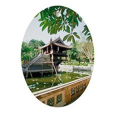 One Pillar Pagoda near a pond, Hanoi Oval Ornament