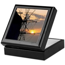 Wind turbine at sunset, Mykonos, Gree Keepsake Box