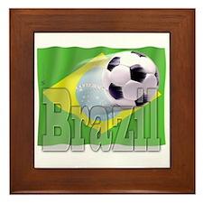 Soccer Flag Brazil Framed Tile