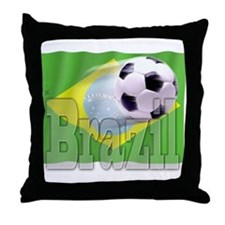 Soccer Flag Brazil Throw Pillow