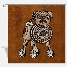 duvetQueenSteampunkPug Shower Curtain