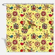 Whimsical Bird Garden Shower Curtain