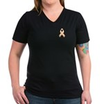 Peach Awareness Ribbon Women's V-Neck Dark T-Shirt