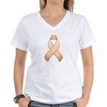 Peach Awareness Ribbon Women's V-Neck T-Shirt