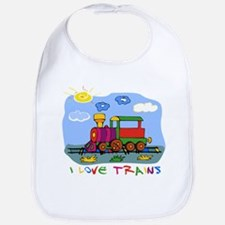 I Love Trains Bib