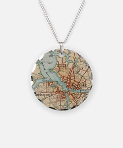 Vintage Map of Norfolk and P Necklace