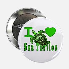 "I LOVE ( Heart ) Sea Turtles 2.25"" Button (10 pac"