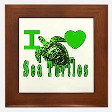 I LOVE ( Heart ) Sea Turtles  Framed Tile