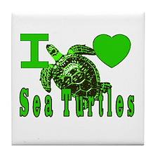 I LOVE ( Heart ) Sea Turtles  Tile Coaster