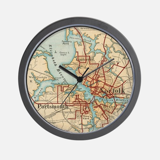 Vintage Map of Norfolk and Portsmouth V Wall Clock