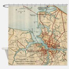 Vintage Map of Norfolk and Portsmou Shower Curtain