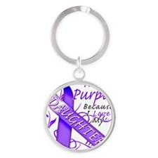 I Wear Purple Because I Love My Dau Round Keychain