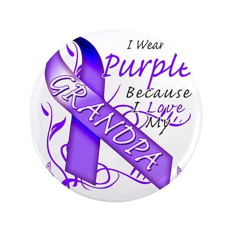 "I Wear Purple Because I Love My Grandp 3.5"" Button"