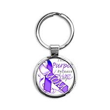 I Wear Purple Because I Love My Mom Round Keychain