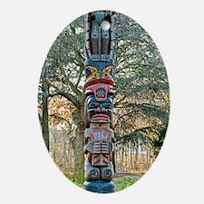 Totem Pole Oval Ornament