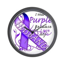 I Wear Purple Because I Love My Husband Wall Clock
