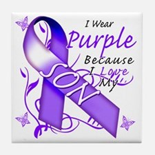 I Wear Purple Because I Love My Son Tile Coaster