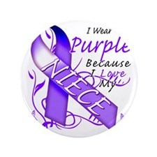 "I Wear Purple Because I Love My Niece 3.5"" Button"