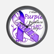 I Wear Purple Because I Love My Uncle Wall Clock