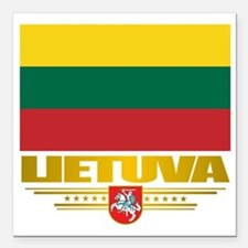 "Lithuania (Flag 10)2 Square Car Magnet 3"" x 3"""