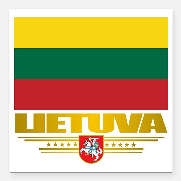 "Lithuania (Flag 10)2 Square Car Magnet 3"" x 3"""