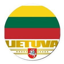 Lithuania (Flag 10)2 Round Car Magnet