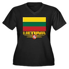 Lithuania (F Women's Plus Size Dark V-Neck T-Shirt