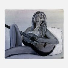 Guitar girl Throw Blanket