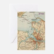 Vintage Map of Norfolk and Portsmou Greeting Cards