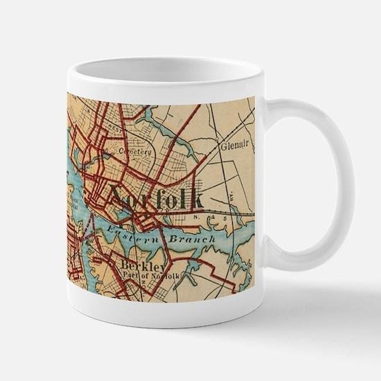 Vintage Map of Norfolk and Portsmouth VA (191 Mugs