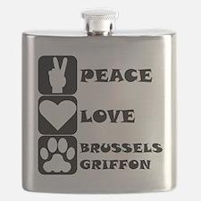 Peace Love Brussels Griffon Flask