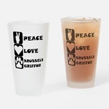 Peace Love Brussels Griffon Drinking Glass