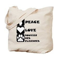 Peace Love Bouvier des Flandres Tote Bag