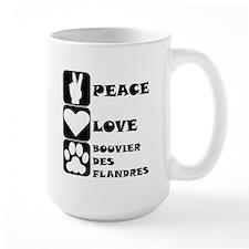 Peace Love Bouvier des Flandres Mugs