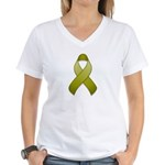 Olive Awareness Ribbon Women's V-Neck T-Shirt