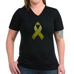 Olive Awareness Ribbon Women's V-Neck Dark T-Shirt