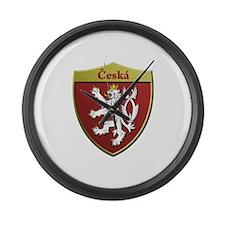Czech Metallic Shield Large Wall Clock