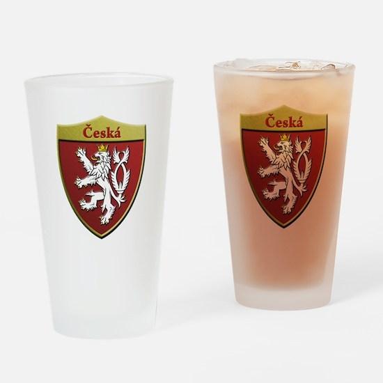 Czech Metallic Shield Drinking Glass