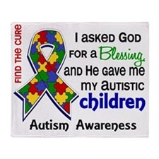 D Blessing 4 Autism Children Primary Throw Blanket