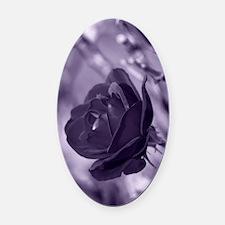 Purple Rose Oval Car Magnet