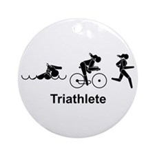 Ladies Triathlete Ornament (Round)