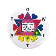 "Gwitap Good is all good Heart Logo 3.5"" Button"