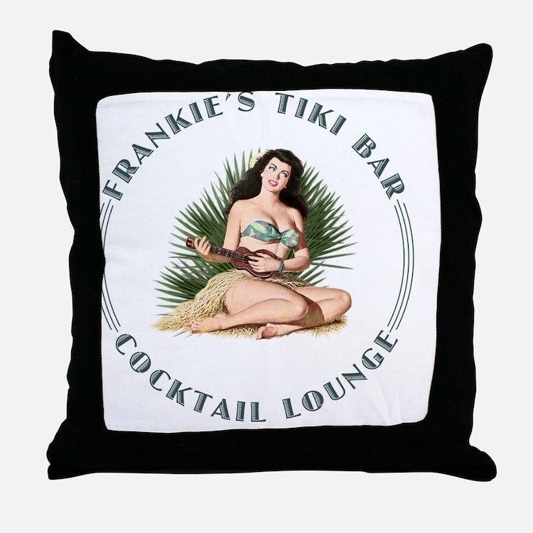 Frankies Tikki 3 clock Throw Pillow
